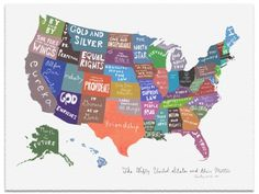 Gallery: mapping out the american dream latin mottos, u. states, united s U.s. States, United States, Latin Mottos, State Mottos, State Map, Linoleum Block Printing, Down South, Direction, Motivational Posters