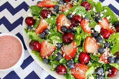 A Cherry Trio Cherry-Berry Salad - Cooking With Ruthie Easy Summer Salads, Summer Salad Recipes, Berry Salad, Low Fat Yogurt, Cherry Recipes, Sauce For Chicken, Salad Ingredients, What To Cook, Salads