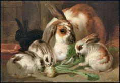 John Frederick HERRING 1795 - 1865, Angleterre Famille de lapins mangeant des navets