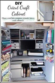 How to upcycle a used oak computer armoire into an awesome craft cabinet. Create the perfect Cricut crafting space and storage from a $60 oak armoire. Perfect Cricut organization and storage idea. #craftcabinet #cricutstorage #cricutorganization #cricutdesk #craftdesk #craftspace #vinylstorage #crafting #furnitureupcycle #pinspiredtodiy
