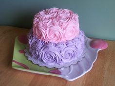 Pink and purple buttercream rose cake