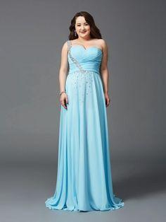 fada27e5e5d One Shoulder Rhinestone Sleeveless Long Chiffon Plus Size Prom Dresses –  dressmelody Evening Dresses Plus Size
