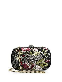 Gucci Broadway Embroidered Clutch - Black-