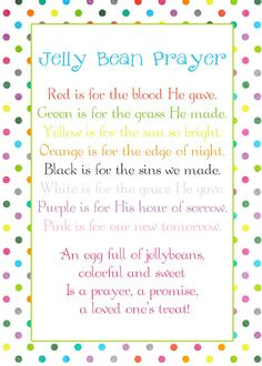 DIY - Easter - Jelly Bean Prayer (Attach to cello bag of Jelly Beans with Ribbons).