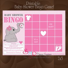 Baby shower Bingo. Obviously will not be pink, but I like the game