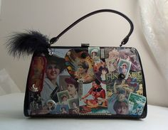 Amazing #purse, #vintage ladies #collage and #vintage rhinestone jewelry cover the front, #faux snake skin on back, #black feather tops her off#free shipping code, FREERIDE, enter at checkout, HopscotchCouture.Etsy.com