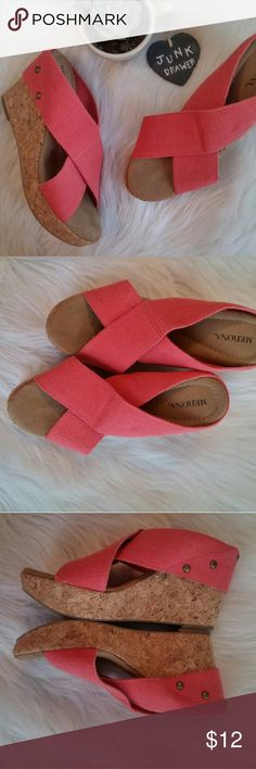"""Stud Wedge Sandals Coral 8 Very Gently Worn. No flaws! Fabric upper. 3.75"""" wedge 1"""" platform.  BUNDLE OFFERS - welcome here! Hundreds of items available for discounted bundle offers!  Follow on IG: @the.junk.drawer Merona Shoes Wedges"""