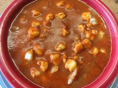 If you're from New Mexico, then you've got a family member that makes the best red chile posole.   In my family, my grandmother always made the food at the family gatherings. Although this seems like a very simple recipe, you have to make it your own. This recipe is very basic but very authentic. Red Chile Posole Recipe, New Mexico Posole Recipe, Chile Recipe, Recipe Chicken, Pozole, Mexican Dishes, Food Cakes, Chilis