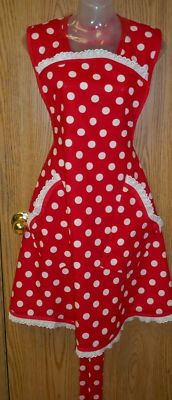 I Love Lucy polka dot lace apron
