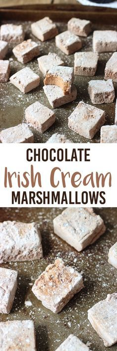 marshmallow treats This homemade marshmallow recipe includes cocoa powder, espresso powder, and Irish cream liqueur for a flavorful sweet treat. Fancy up s'mores, hot chocolate and Recipes With Marshmallows, Homemade Marshmallows, Homemade Candies, Chocolate Marshmallows, Chocolate Brownies, Irish Recipes, Sweet Recipes, Candy Recipes, Dessert Recipes