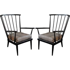 Pair of Modernist Wooden Spindle Back Arm Chairs $2,040