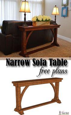 woodworking projects: Free DIY plans to build a stylish narrow sofa tabl. Narrow Sofa Table, Diy Sofa Table, Sofa Tables, Entry Tables, Console Table, Narrow Entryway Table, Hall Tables, Diy Furniture Plans, Woodworking Furniture