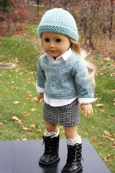 American Girl Doll Clothes -Aqua Sweater, Button Up Shirt, Mini Skirt Hand Knit Hat, 18 inch doll clothes, AG clothes, Boot Cuffs