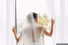 Wedding photography inspiration, mesh back of wedding dress with low cut detailing