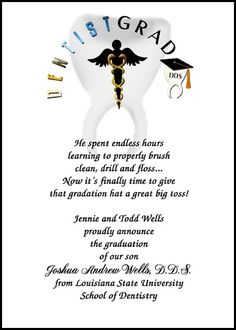 Voted best office administration graduating announcement for voted most popular dentist graduation invitations and most creative caduceus dental school graduation announcements for dds school graduating commencement stopboris Gallery
