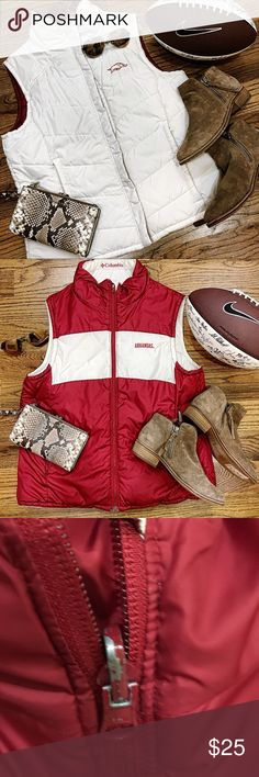 GUC COLUMBIA RAZORBACK REVERSIBLE PUFFED VEST L Gently used. Does have some paint chipping on zipper. Reversible vest. White on one side, red on the other. Each side has pockets. Columbia Jackets & Coats Vests