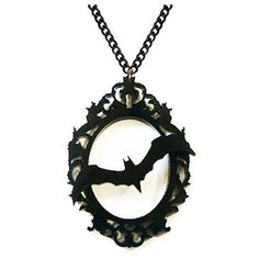 Bat Frame Necklace ($11) ❤ liked on Polyvore featuring jewelry, necklaces, bat necklace and bat jewelry