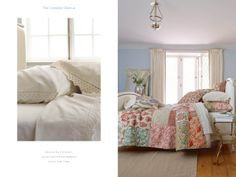 Reverie Quilt, Velvet Lace Flannel Bedding, and Sutton Side Table