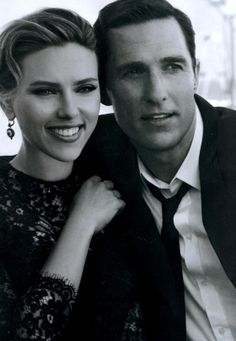 Scarlett Johansson and Matthew McConaughey play a couple for Dolce & Gabbana's The One fragrance; Miley Cyrus will perform at the American Music Awards next month. Dolce & Gabbana, Dolce And Gabbana Perfume, Matthew Mcconaughey, Scarlett Johansson, Martin Scorsese, Star Wars, American Music Awards, Engagement Inspiration, Unisex