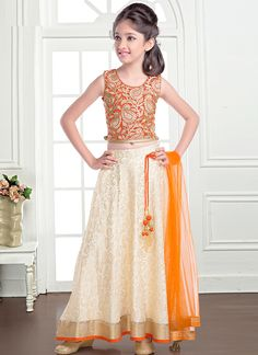 Dilettante Cream And Orange Jacquard Designer Kids Lehenga Choli