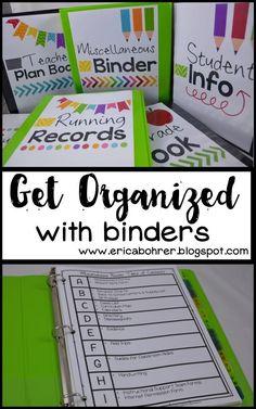 Get Organized with Binders: Teacher Plan Book, Miscellaneous Binder, Student Info Binder, Running Records, & Grade Book. These binders keep me sane and organized as a first grade teacher.