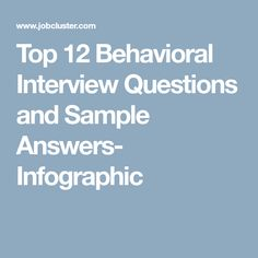 Elegant Top 12 Behavioral Interview Questions And Sample Answers  Infographic