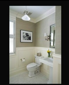 Grass cloth, wanscoting, green, yellow & beige downstairs bathroom