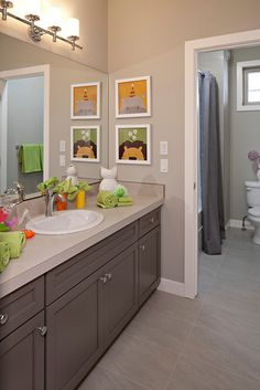 Boy Girl Shared Bathroom Neutral With Pops Of Color Designed - Kids bathroom shower curtains for small bathroom ideas