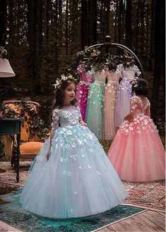Wedding Dresses Ball Gown, Unique Tulle Bateau Neckline Half Sleeves Ball Gown Flower Girl Dresses With Belt & Bowknot & Beaded Handmade Flowers DressilyMe Girls Blue Dress, Girls Tutu Dresses, Gowns For Girls, Little Girl Dresses, Prom Dresses, Wedding Dresses, Tulle Flower Girl, Flower Girl Dresses, Half Sleeve Dresses