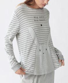 Oysho - Camiseta conejo rayas grises