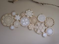 We create both custom dreamcatchers as well as wall murals for your home that are handmade on the Northern Beaches of Sydney. We started making dreamcatchers to bring you lovely dreams and a… Doilies Crafts, Crochet Doilies, Framed Doilies, Cuadros Diy, Doily Art, Embroidery Hoop Crafts, Dream Catcher Boho, Dreamcatchers, Bohemian Decor