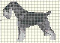 Standard Schnauzer Dog (Salt and Pepper) Free Cross Stitch / Knitting Pattern Cross Stitch Charts, Cross Stitch Patterns, Quilt Patterns, Knitting Charts, Knitting Patterns, Dog Chart, Puppy Day, Animal Quilts, Dog Pattern