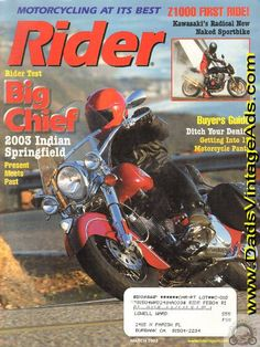 2003 March Rider Motorcycle Magazine Back-Issue Vintage Indian Motorcycles, Design Department, Sport Bikes, Big, Specs, Magazines, Engineering, Face, Pictures