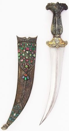 Ottoman jambiya, 18th to 19th century, steel, jade, gold, brass, gemstone,  H. with sheath 15 1/16 in. (38.3 cm); H. without sheath 13 3/16 in. (33.5 cm); H. of blade 8 3/4 in. (22.2 cm); W. 2 7/16 in. (6.2 cm); D. 7/8 in. (2.2 cm); Wt. 11.8 oz. (334.5 g); Wt. 4.7 oz. (133.2 g), Met Museum,  Bequest of George C. Stone, 1935.