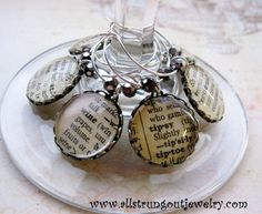 """Vintage Dictionary Wine Glass Charms - Tipsy, Chatty, Rational, Silly, Wine, Inebriate"""