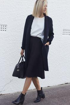 Navy coat, white top & black culottes