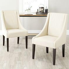 69509 furniture Safavieh Loire Cream Leather Nailhead Dining