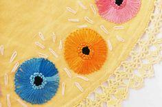 Vintage Round Yellow Floral Doily