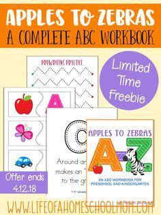 Apples to Zebras complete preschool beginning phonics curriculum {LIMITED TIME FREEBIE!}