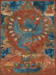 TIBET - XVIIE SIÈCLE Tangka en hauteur, détrempe sur toile, Hevajra sous l'aspect de Kapaladhara à six têtes et seize bras et sa satki Nairatmya tenant des kapala dans chaque main les têtes ornées de couronnes à décor de crânes de cittipati debout en chapastana sur des cadavres reposant sur un socle en forme de lotus, devant la mandorle en feu surmonté d'un moine et d'un ascète, en partie inférieure de jambhala et d'un lama. Dim à vue. 32,7 x 25 cm. Deities, Tibet, Nepal, Auction, Painting, The World, Cow Skull Decor, 17th Century, Buddhism