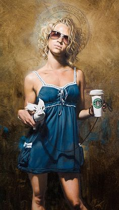 """""""Oxford Street"""" - Mitch Griffiths, oil on canvas, 2010 {figurative art blonde female cup starbucks standing woman cropped painting} mitchgriffiths.com"""