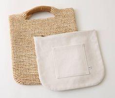 Yaginuma Chikako raffia bag All About Style Store Crochet Tote, Crochet Crafts, Macrame Bag, Craft Bags, Basket Bag, Summer Bags, Bag Organization, Knitted Bags, Crochet Accessories