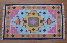 Southwestern Colorful Dhurrie Rug - 4x6, Handwoven Rug, Navajo Cotton Rug, Bohemian Rug, Persian, Kilim, Moroccan Tribal Rug CD-171 by DhurrieWorld on Etsy