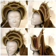 Brown French Hood, Renaissance Hat,Tudor, Anne Boleyn French Hood, LARP Costume