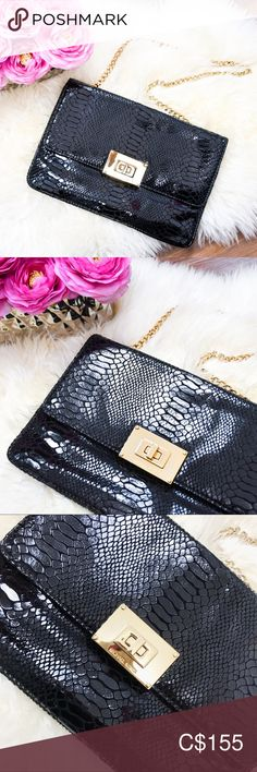 Shop Women's MICHAEL Michael Kors Black Gold size OS Clutches & Wristlets at a discounted price at Poshmark. Description: ON SALE 🎉 Price is firm! Gold Purses, Python Print, Print Logo, Michael Kors Black, Leather Clutch, Gold Hardware, Fashion Tips, Fashion Design, Fashion Trends