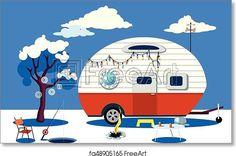 Ice fishing scene - Artwork - Art Print from FreeArt.com
