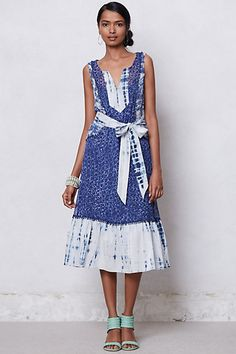 This screams SUMMER beach trips to me  Or random walking thru a rainforest  Shibori Patchwork Dress #anthropologie