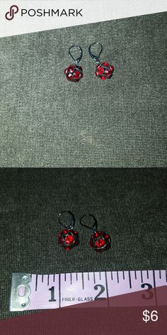 Red rhinestones & black metal earrings These earrings bring a touch of sparkle without being statement pieces on their own. Lane Bryant Jewelry Earrings