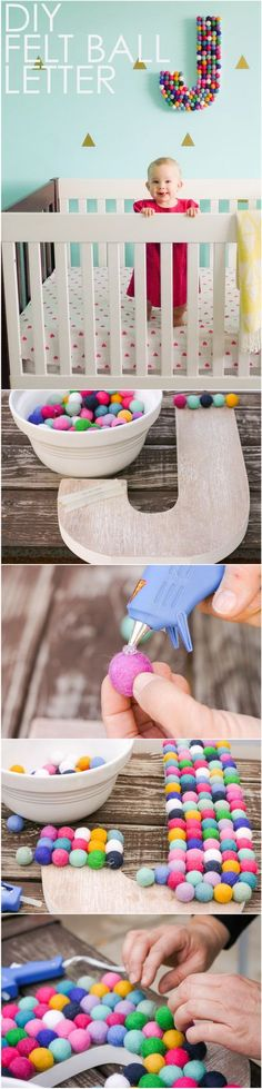 DIY Felt Ball Letter. Felt balls add a quirky, whimsical touch to any room with their soft, cushy texture. DIY felt ball letters are great for the nursery decor with its wide variety of colors and sizes!