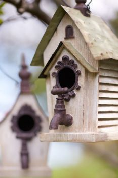 Hanging Birdhouse with faucet stoop.  Similar to one of ours with the keys and license plate roof. Cute idea. #birdhouseideas